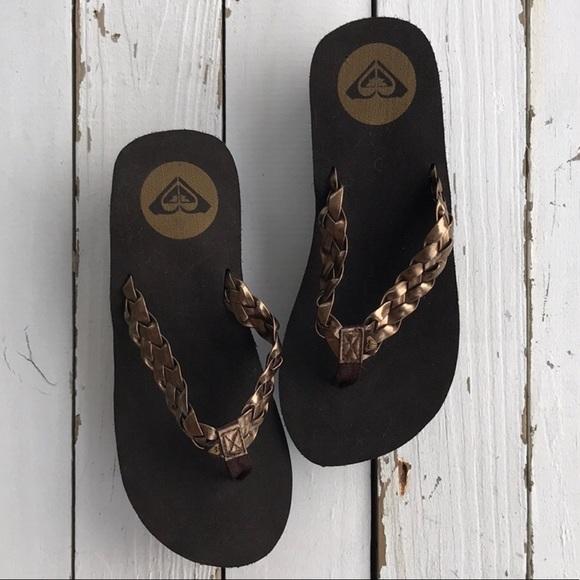 Roxy Metallic Braided Wedge Flip Flops